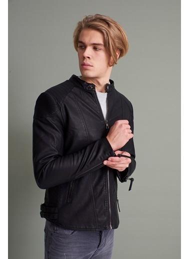 Z Giyim Dik Yaka Deri Mont Siyah